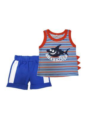 Комплект (майка + шорты), Веселый Зоопарк Soni kids. Цвет: оранжевый, синий