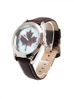 Часы Кленовый лист Kawaii Factory. Цвет: белый, красный