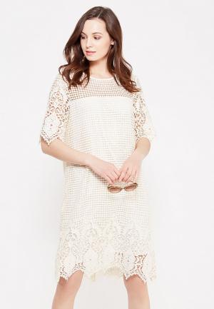 Платье Cortefiel. Цвет: бежевый