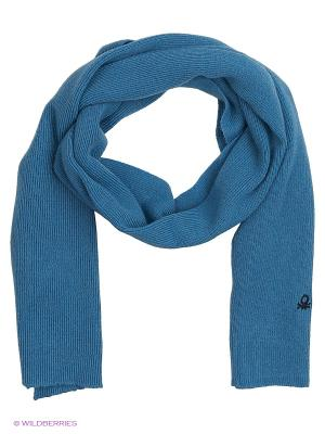 Шарф United Colors of Benetton. Цвет: голубой, серый
