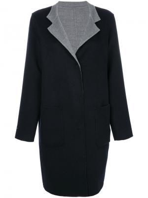 Пальто с контрастными лацканами Manzoni 24. Цвет: синий