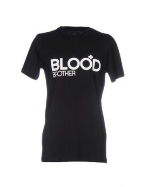 Футболка BLOOD BROTHER. Цвет: черный