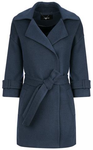 Синее пальто с поясом Le monique