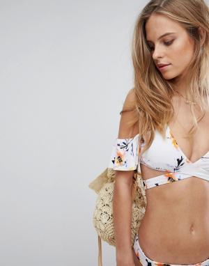 Bikini Lab Бикини-топ с запахом и оборками. Цвет: мульти