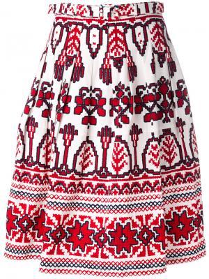 Расклешенная юбка с принтом Samantha Sung. Цвет: белый