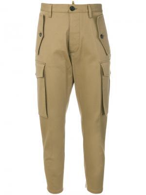 Укороченные брюки-карго Dsquared2. Цвет: коричневый