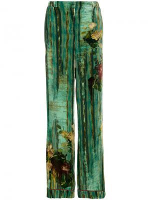 Бархатные брюки-палаццо с принтом Alberta Ferretti. Цвет: зелёный