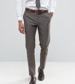 Noak Зауженные брюки из ткани с добавлением льна в крапинку. Цвет: коричневый