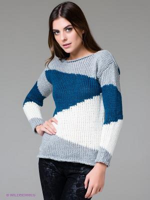 Джемпер FRACOMINA. Цвет: светло-серый, белый, синий