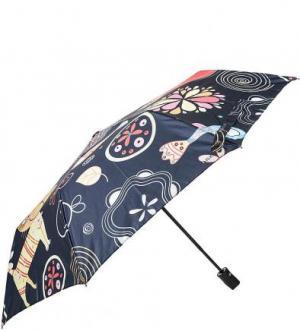 Складной зонт с куполом из полиэстера FLIORAJ. Цвет: синий
