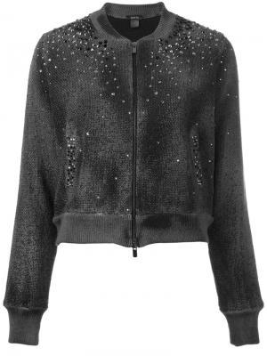 Куртка-бомбер  с заклепками Avant Toi. Цвет: зелёный