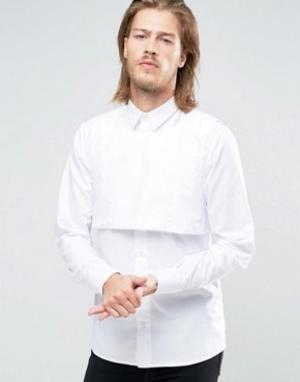 Rogues of London Облегающая рубашка с манишкой. Цвет: белый