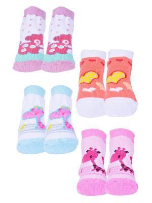 Носки, 4 пары Malerba. Цвет: сиреневый, оранжевый, розовый