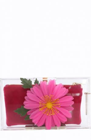 Клатч Flowering Pandora с цветком Charlotte Olympia. Цвет: розовый