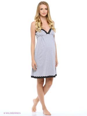 Сорочка женская для беременных и кормящих Hunny Mammy. Цвет: серый, черный