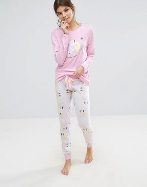 Loungeable Пижама с единорогом. Цвет: розовый