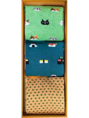 Набор Пикник на обочине (3 пары в коробке), дизайнерские носки SOXshop. Цвет: лазурный, зеленый