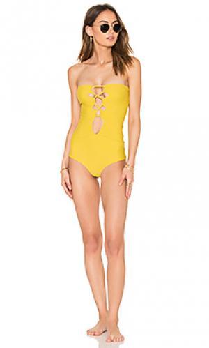 Слитный купальник bronx Acacia Swimwear. Цвет: желтый