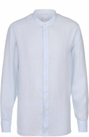 Льняная рубашка с воротником-стойкой 120% Lino. Цвет: голубой