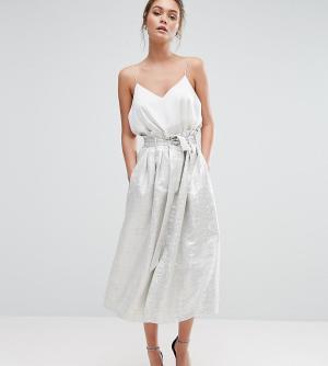 Closet London Жаккардовая юбка миди с отделкой металлик. Цвет: серебряный