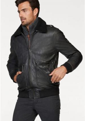 Кожаная куртка Rhode Island. Цвет: темно-серый