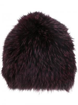 Пушистая шапка Yves Salomon. Цвет: розовый и фиолетовый
