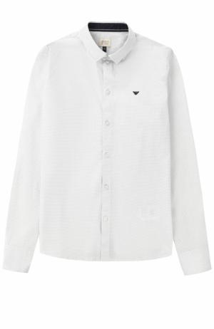 Хлопковая рубашка с логотипом бренда Giorgio Armani. Цвет: серый