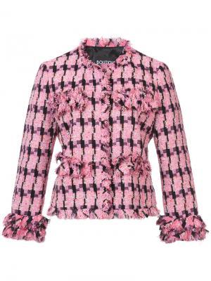 Блейзер с вышивкой Boutique Moschino. Цвет: розовый и фиолетовый