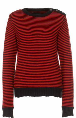 Вязаный пуловер в контрастную полоску Zadig&Voltaire. Цвет: красный