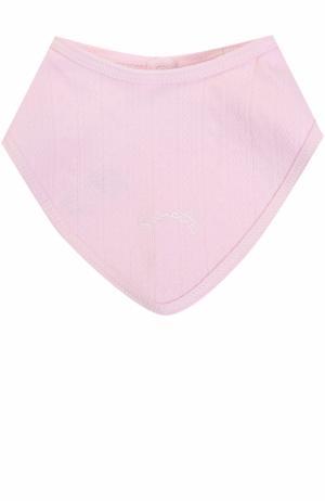 Хлопковый нагрудник с вышивкой Sanetta Fiftyseven. Цвет: розовый
