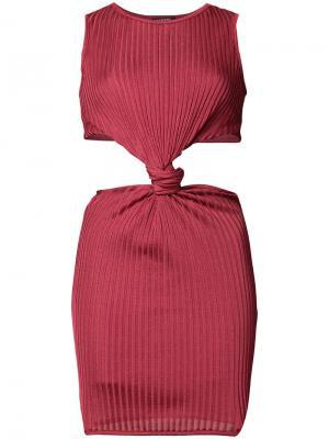 Платье в рубчик с декоративным узлом Balmain. Цвет: красный