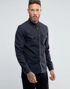 Lee Черная джинсовая рубашка в стиле вестерн узкого кроя. Цвет: черный