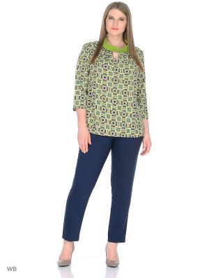 Блузка Фреска Elegancestyle. Цвет: зеленый, коричневый