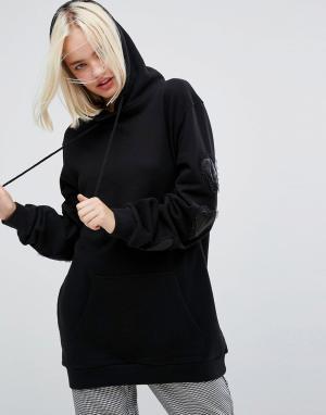 Lazy Oaf Oversize-худи черного цвета с декоративной отделкой. Цвет: черный