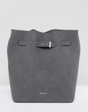Matt & nat Серая сумка-мешок из искусственной замши Lexi. Цвет: серый