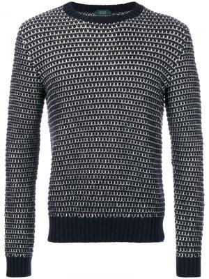 Полосатый свитер с круглым вырезом Zanone. Цвет: синий