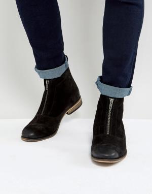 ASOS Черные замшевые ботинки на молнии спереди. Цвет: черный