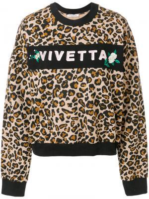 Толстовка с леопардовым принтом и логотипом Vivetta. Цвет: коричневый