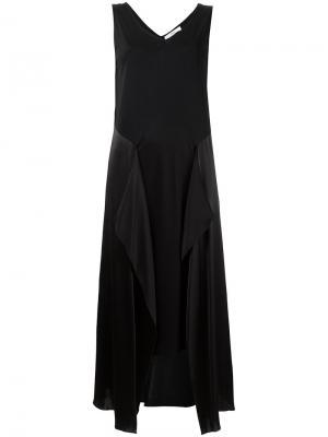 Асимметричное платье с шелковыми панелями Astraet. Цвет: чёрный