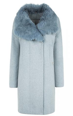 Полушерстяное пальто с воротником из меха кролика Элема