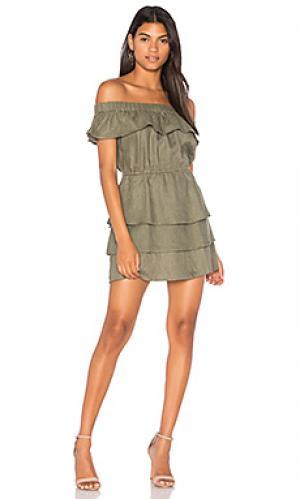 Платье без бретелек с рюшами stefi SIR the label. Цвет: оливковый
