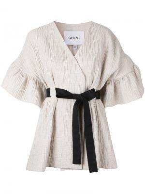Пиджак с поясом и оборками Goen.J. Цвет: телесный
