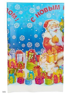 Скатерть С новым годом А М Дизайн. Цвет: синий, белый, темно-синий, лазурный, зеленый, салатовый, светло-желтый, красный, горчичный, золотистый, кремовый