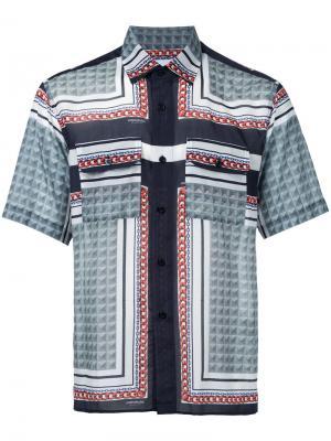 Рубашка с короткими рукавами и узором Yoshio Kubo. Цвет: синий