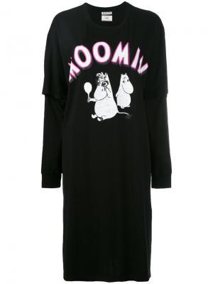 Платье-футболка с принтом спереди Aalto. Цвет: чёрный