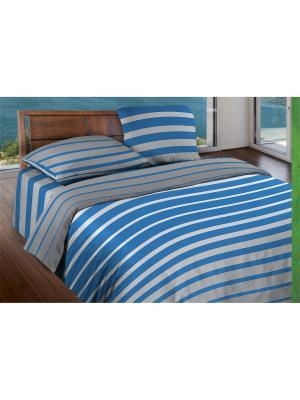 Комплект постельного белья 1,5 бязь  Stripe Blue Wenge. Цвет: серый, голубой