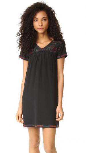 Платье Peasant с вышивкой Madewell. Цвет: классический черный