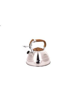 Чайник со свистком (газ/электро/индукция), 3 л HOFFMANN. Цвет: коричневый, серебристый
