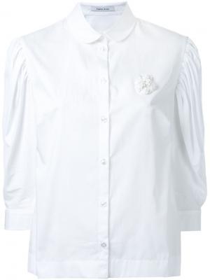 Плиссированная рубашка с буффами на рукавах Simone Rocha. Цвет: белый