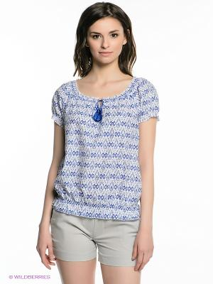 Блузка Oodji. Цвет: белый, синий